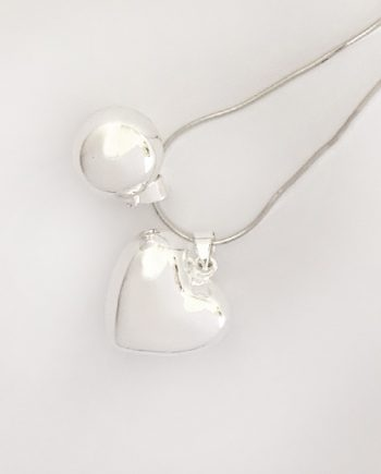 big love heart silver chime ball pendant bebe bola