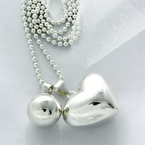 big love heart silver chime ball pendant bebebola