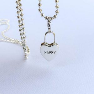 happy heart sterling silver charm for necklace