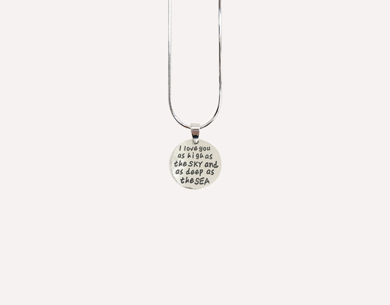 i love you as high as the sky quote saying pendant