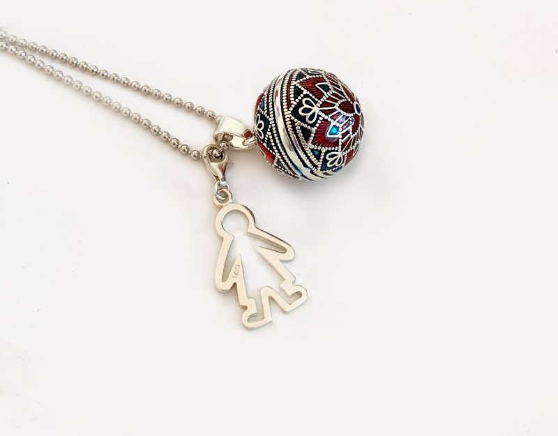 pregnant baby boy silver charm necklace