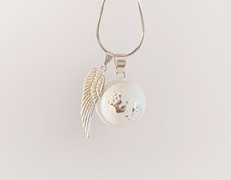 silver guardian angel wing charm pendant 1
