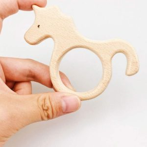 natural Wood Unicorn teething baby relief