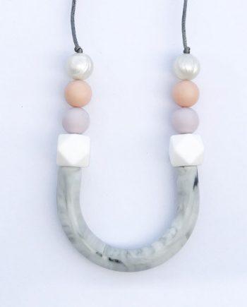 sorbet purple orane silicone bead necklace