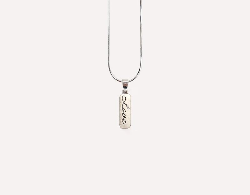 love pendant antique silver necklace