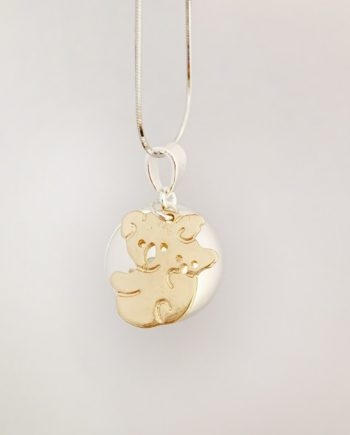 mumma bear harmony ball pendant necklace silver gold 2