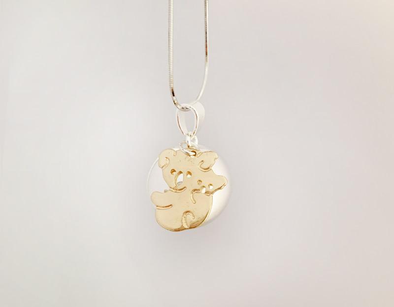 mumma bear harmony ball pendant necklace silver gold 2