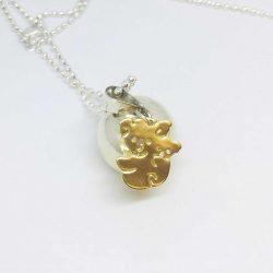mumma bear harmony ball pendant necklace silver gold