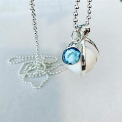 blue topaz december birthstone silver charm necklace bracelet