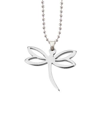 dragonfly charm pendant necklace silver stainless steel