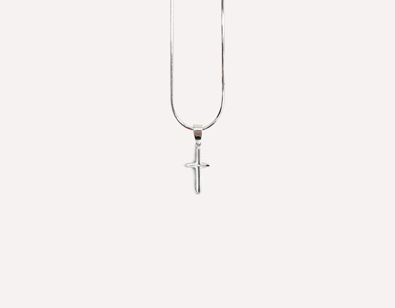 silver cross hollow necklace pendant