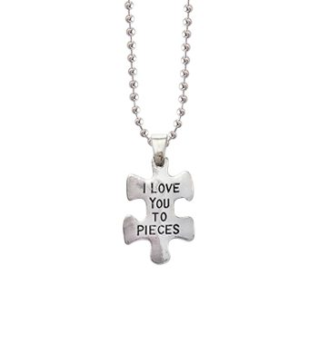 love you to pieces charm puzzle jigsaw silver pendant