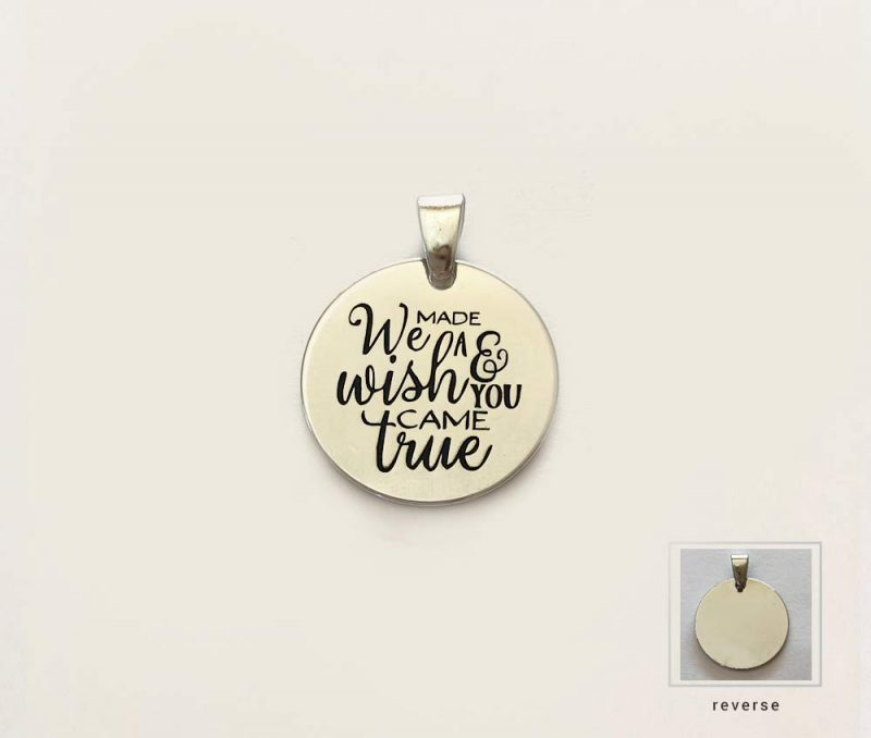 made a wish you came true silver charm pregnancy quote