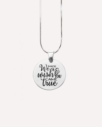 we made a wish and you came true charm pregnancy necklace silver stainless steel 1