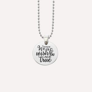 we made a wish and you came true charm pregnancy necklace silver stainless steel