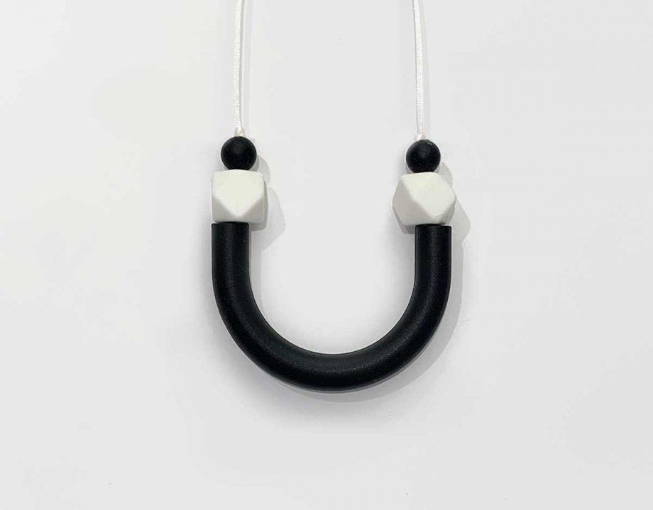 silicone necklace tube black white