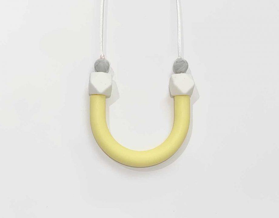 silicone necklace tube lemon yellow