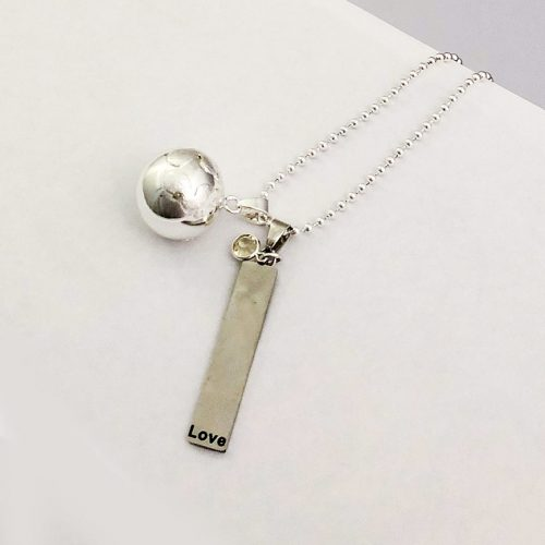 Love and Light silver charm for pregnancy necklace