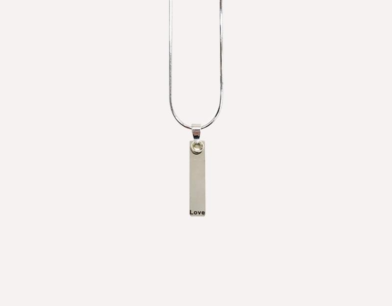 love light charm long silver pendant