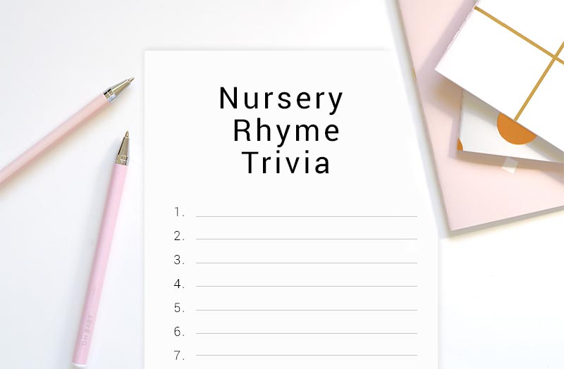 nursery rhyme trivia baby shower game