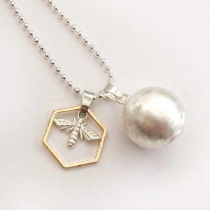 baby bee necklace bumblebee charm mum to bee