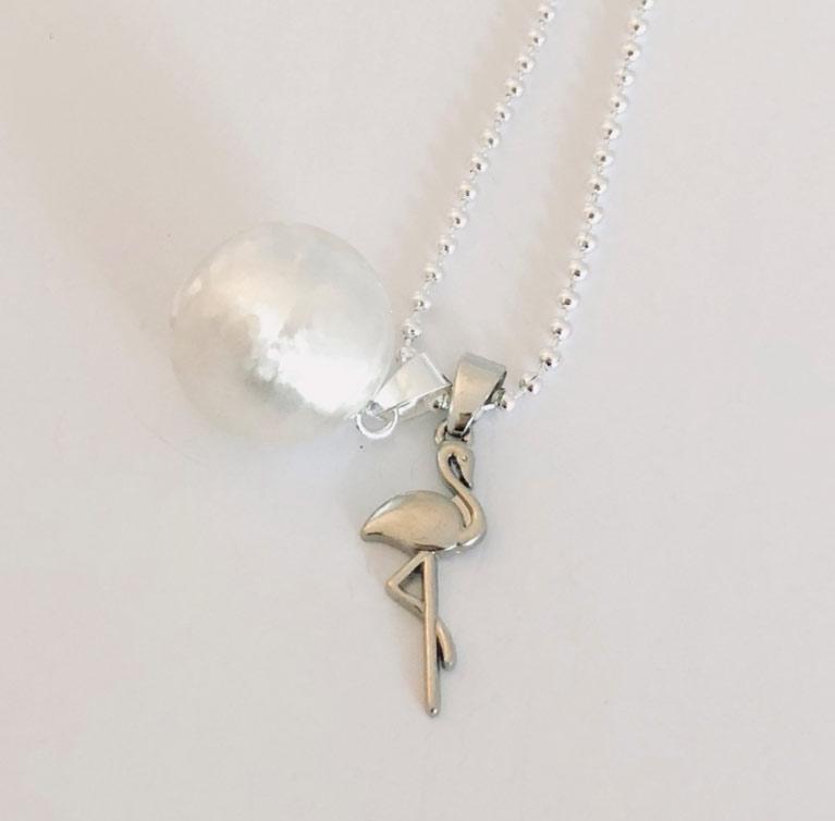 flamingo stork silver pendant for necklace