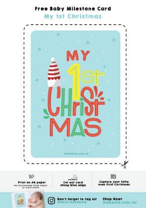 free printable baby milestone card christmas xmas
