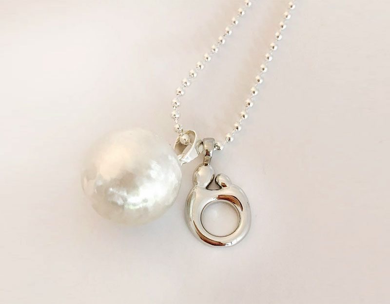 mother and baby silver charm necklace jewellery australia 1
