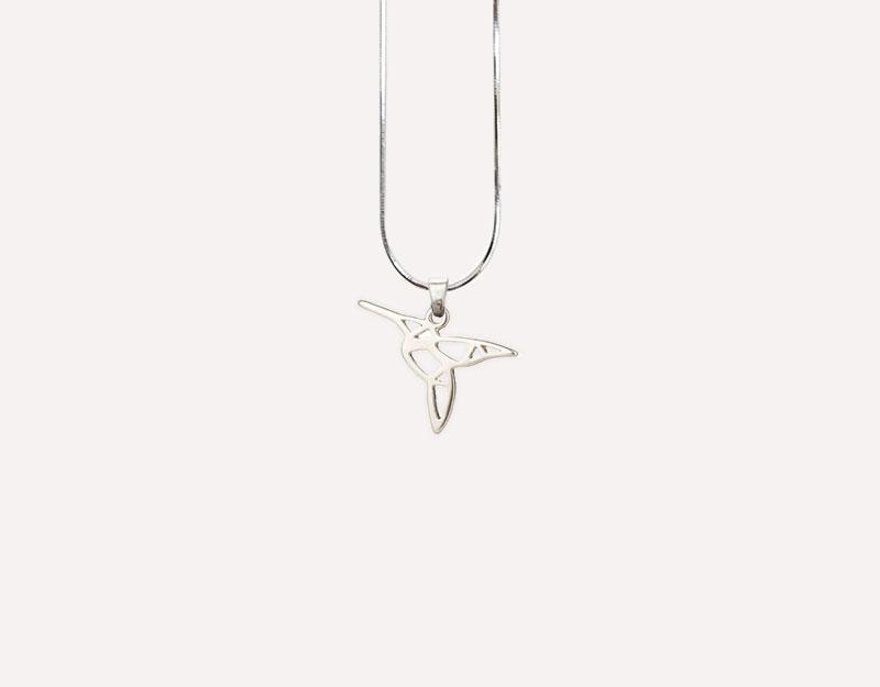 hummingbird charm pendant silver gold