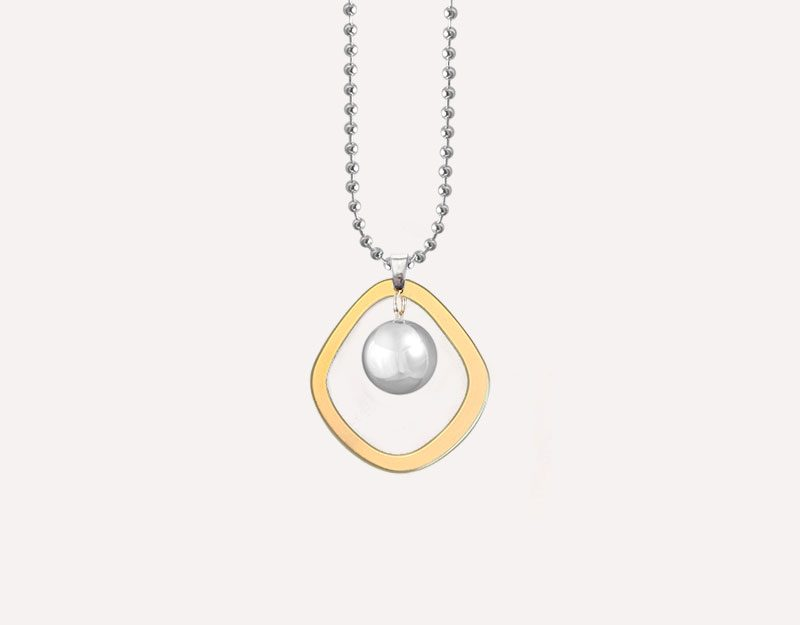 halo matte gold harmony ball necklace
