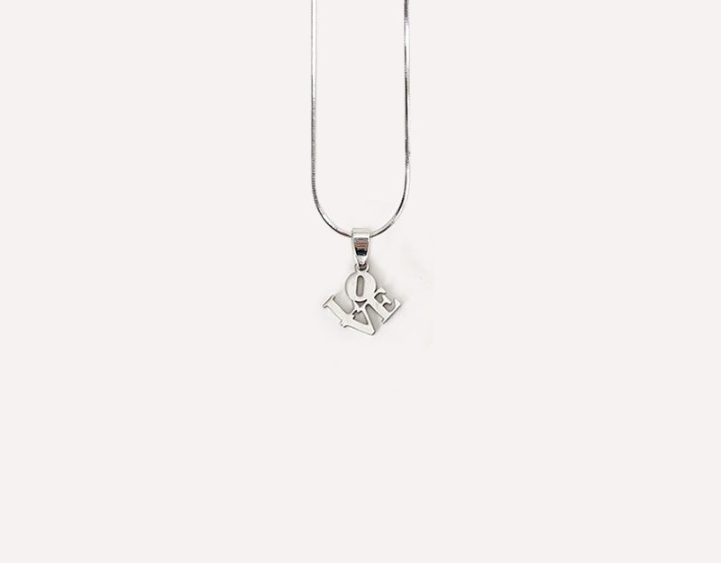 love letters cutout charm silver stainless stacked