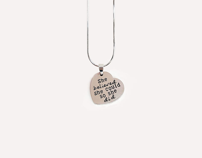 pendant charm she believed she could so she did silver stainless