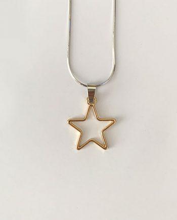 gold star hollow geometric charm pendant