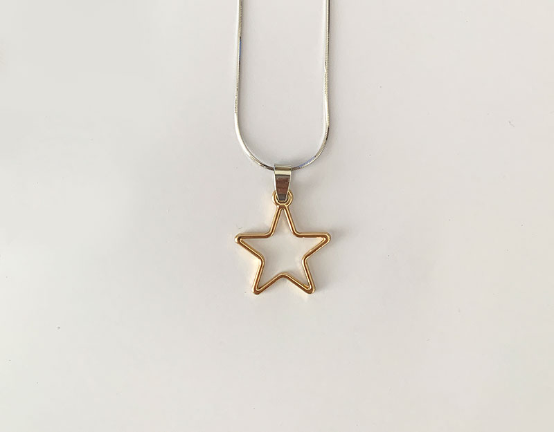 gold star hollow geometric charm pendant