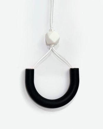 silicone necklace knotted black white