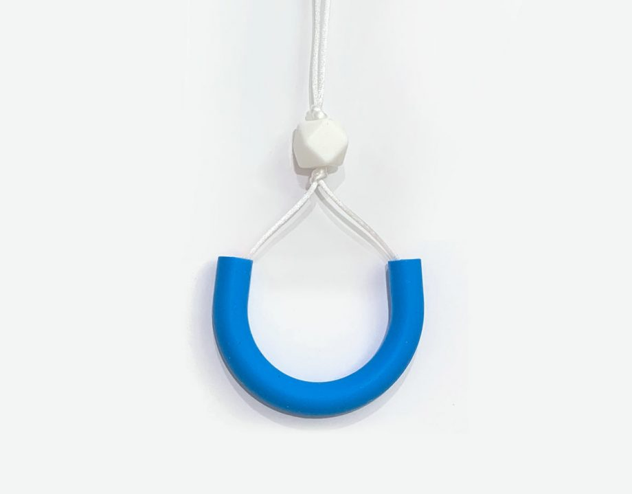 silicone necklace knotted blue pink