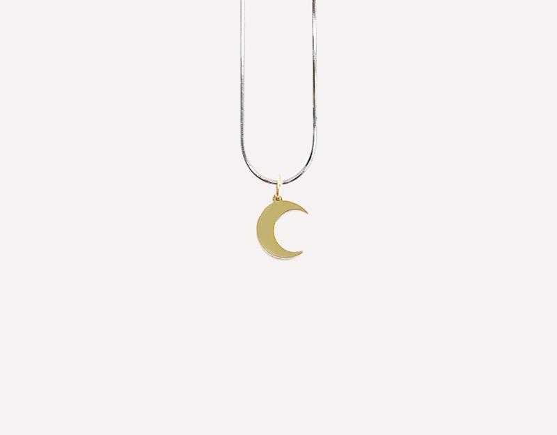 mini moon gold necklace pendant